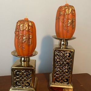 "6"" pumpkin candles and candle holders"